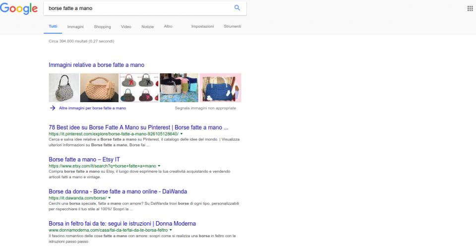 Ricerca borse fatte a mano su Google